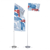 The Portable Flagpole no Arm is a user-friendly flagpole that displays portrait and landscape prints.