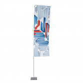 The Portable Flagpole with Arm is a banner arm flagpole, allowing prints to remain visible indoors and outdoors.