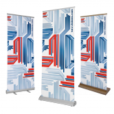 The Roll Up is a lightweight retractable banner stand that comes with a carrying case for easy transport.