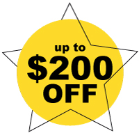 Up to $200 of an order coupon