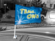 Car Flags are simple displays that use a white PVC pole to mount a print onto your client's car window.