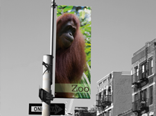 Street Banners are custom prints that use hardware to mount to a street lamp for simple outdoor advertising.