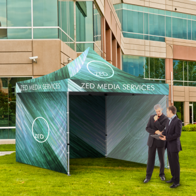 Use our full-imprint tents to broadcast your client's brand to interested parties.