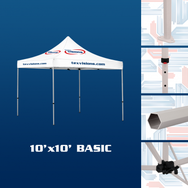 10' x 10' Basic canopy offered in steel finish.