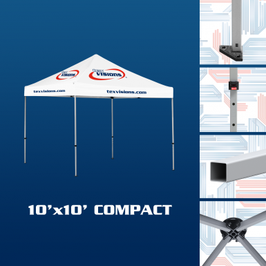 10' x 10' Compact canopy offered in steel finish.