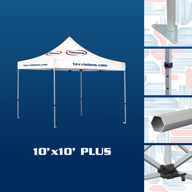 10' x 10' Plus Tent available in aluminum finish.