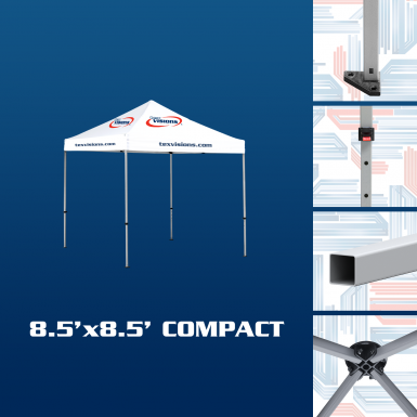 Compact Tent Frame features square aluminum tent legs with adjustment levers and triangular feet.