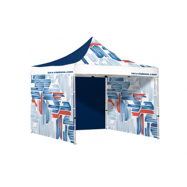 10 x 10 tent shown with three full walls.