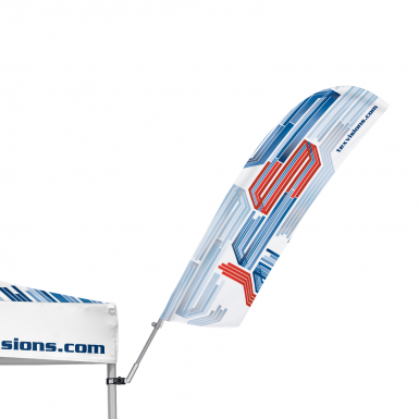 The Advertising Tent Bowflag® 30° is easily attached to any advertising tent.