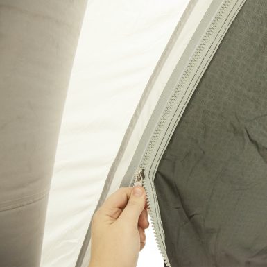 Air Tent Tunnel easily zips to Air Tent canopy.