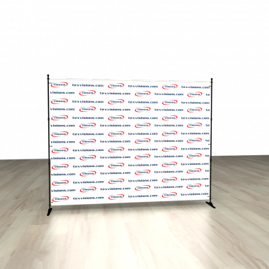 Your client's banner can be displayed on the optional adjustable backdrop hardware kit.