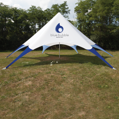 Height ranges from 16.1u0027 - 17.8u0027. & Star Tent 43ft with Full Imprint - Single-Pole Tension Canopy