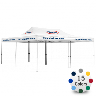 Advertising Tent 20' x 20' with area imprint canopy and optional walls.