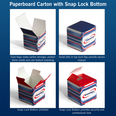 Paperboard Carton with 1-2-3 Snap Lock Bottom explained.