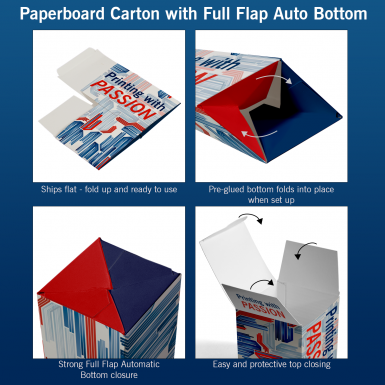 Paperboard Carton with Full Flag Automatic Bottom explained.