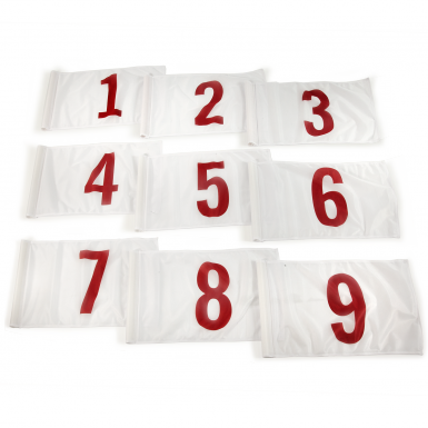 Red on white background numbers 1-9.