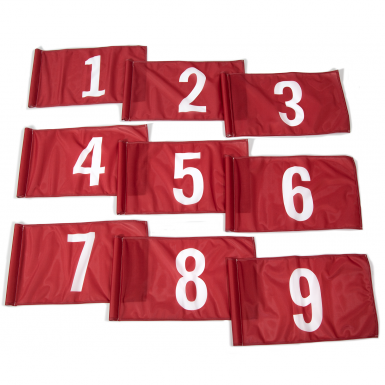 White on red background numbers 1-9.