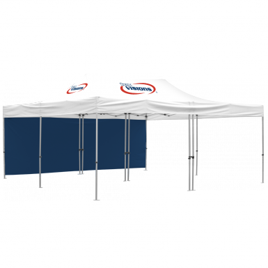 Advertising Tent 20' x 20 with custom area imprint canopy and 1 full wall.