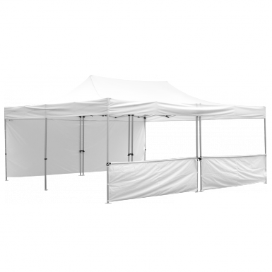 Advertising Tent 20' x 20 with white canopy and 1 full and 1 half wall.