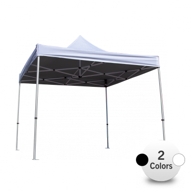 Opaque Interior Canopy Liner in black is shown with white tent canopy and frame.