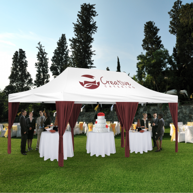 Create an inviting event tent with our Decorative Curtains that come in 20 colors. & Decorative Curtains for Ez Up Advertising Tent