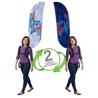 Double-sided convex shaped backpack flags are recommended for complex artwork and text.