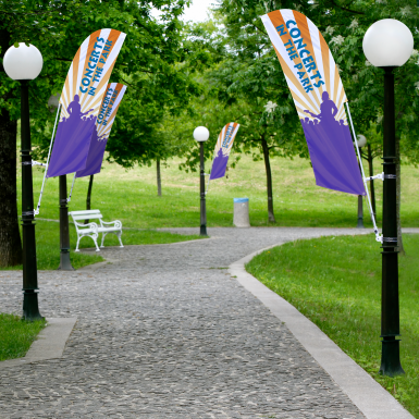 The Bowflag® Street Banner Concave features a custom print in a single-reverse or double-sided layout.