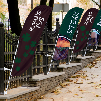 The Bowflag® Street Banner Concave can be positioned at multiple different angles for a greater impact.