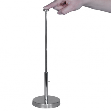 "This tabletop display's telescopic pole can be adjusted to reach any height between 13"" and 20"" tall."