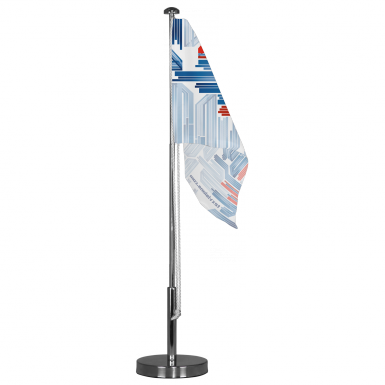 The hardware used for Tex Visions' Table Flag includes a telescopic pole and weighted support base.