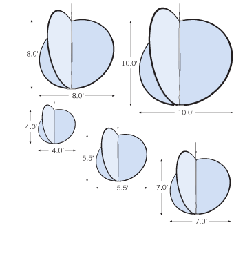 Sketches of Hanging Circle 3D sizes with dimensions