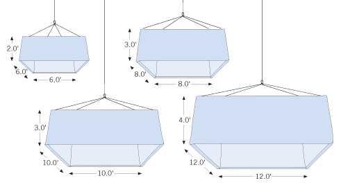 Hanging Square sketch of standard sizes with dimensions