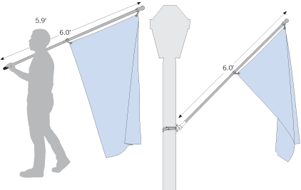 Sketch illustrating 6ft hand-held and wall-mounted flagpoles