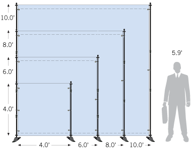 Adjustable backdrop stand sketch with size dimensions