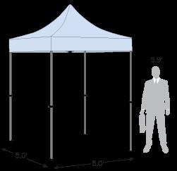 Advertising Tent 5' x 5' dimension details