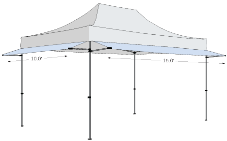 Tent Awnings can be ordered in 10' and 15' sizes