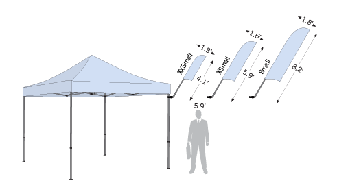 Size options for Advertising Tent Bowflag® Flying shapes