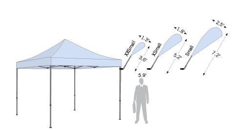 Size options for Tent Bowflag® Drop