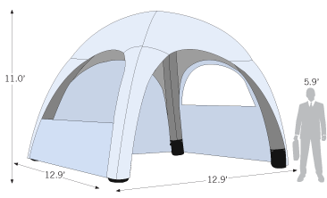 Air Tent 13ft x 13ft sketch with dimensions