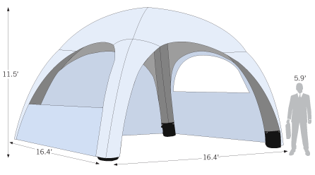 Air Tent 16ft x 16ft Sketch with dimensions