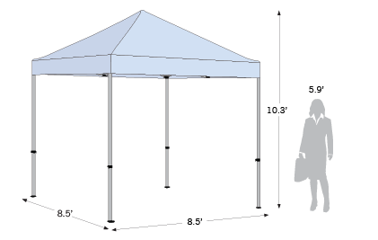 Advertising Tent Compact 8.5x8.5 sketch with dimensions