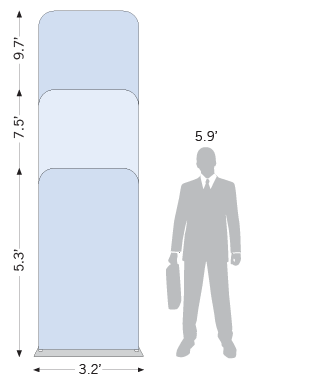 Easy Tube Display 3.0ft with Slip-On Banner sketch showing height options