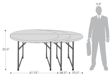 Sketch of 4ft, 5ft, and 6ft round folding tables with dimensions