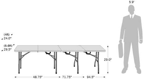 Folding Table sketch with dimensions