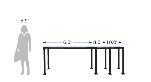 All Pallet-To-Table models can extend to 6ft, 8ft and 10ft.