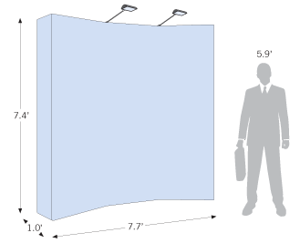 Slightly curved backdrop with a size of 7.7ft by 7.4ft that folds down for transport