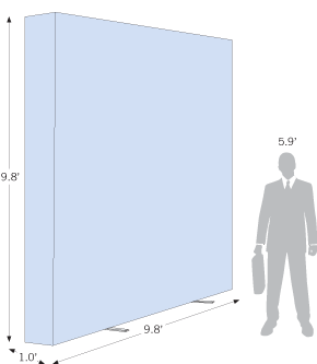 Sketch of a Pop Up Backlit Straight 9.8ft x 9.8ft with dimensions