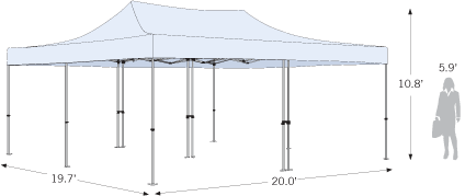 Advertising Tent 20ft x 20ft with dimensions
