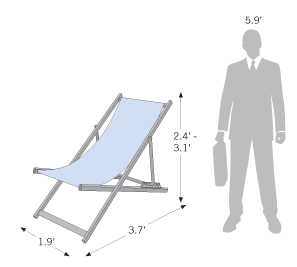 Aluminum Deck Chair sketch with dimension information
