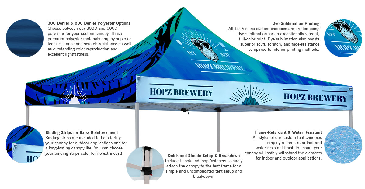 custom canopy tent features